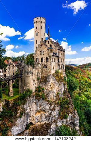 Beautiful casles of Europe - impressive Lichtenstein castle over
