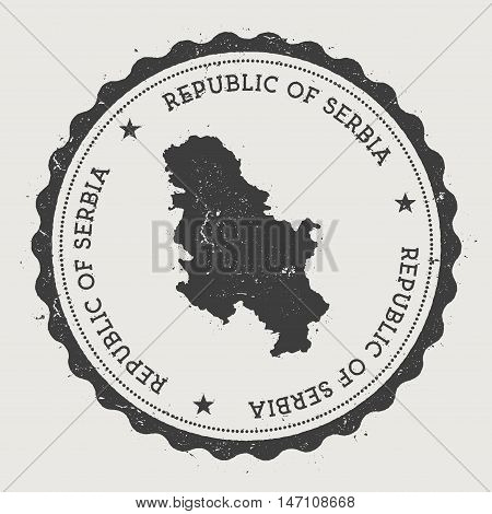 Serbia Hipster Round Rubber Stamp With Country Map. Vintage Passport Stamp With Circular Text And St