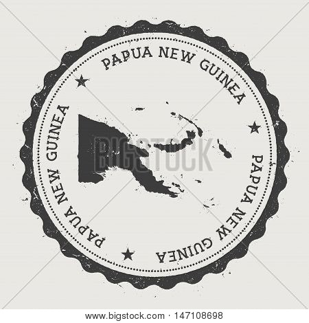 Papua New Guinea Hipster Round Rubber Stamp With Country Map. Vintage Passport Stamp With Circular T