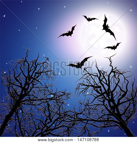 Flock of bats above the trees at night time. Halloween background. Vector illustration.