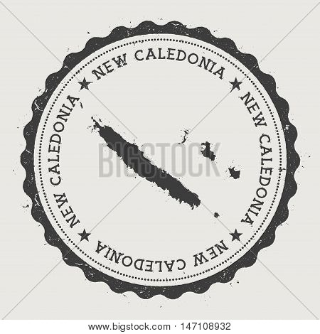 New Caledonia Hipster Round Rubber Stamp With Country Map. Vintage Passport Stamp With Circular Text