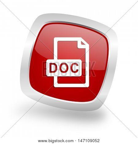 doc file square glossy red chrome silver metallic web icon