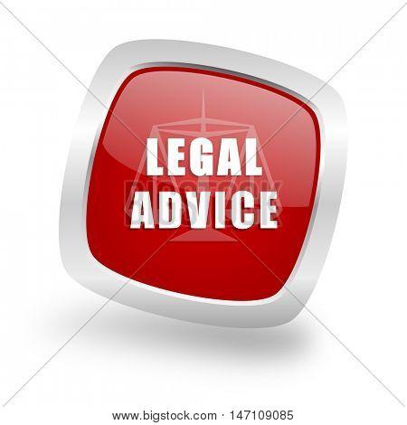 legal advice square glossy red chrome silver metallic web icon