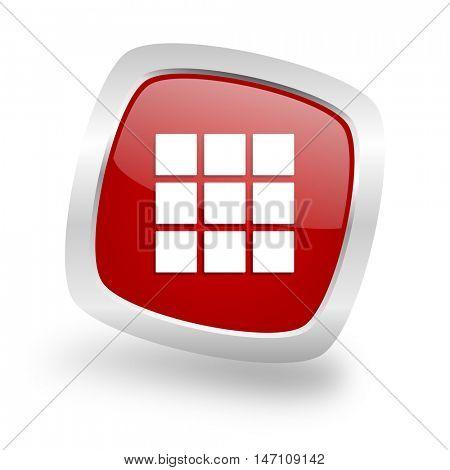 thumbnails grid square glossy red chrome silver metallic web icon