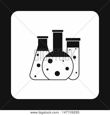 Chemical laboratory flasks icon in simple style on a white background vector illustration