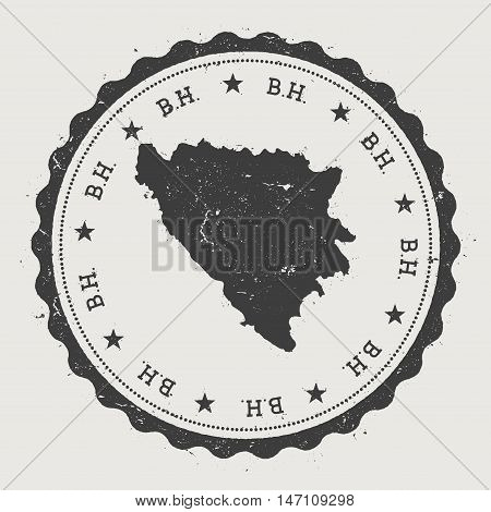 Bosnia And Herzegovina Hipster Round Rubber Stamp With Country Map. Vintage Passport Stamp With Circ