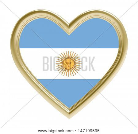 Argentine flag in golden heart isolated on white background. 3D illustration.