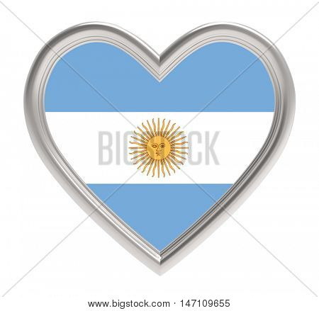 Argentine flag in silver heart isolated on white background. 3D illustration.