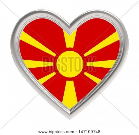 Macedonian flag in silver heart isolated on white background. 3D illustration.