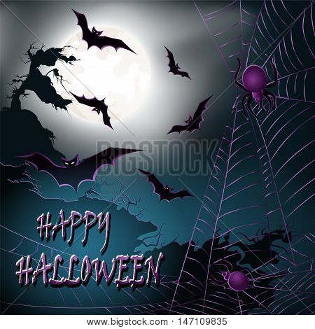Halloween background with cliffs bats moon and spiders. Vector illustration.