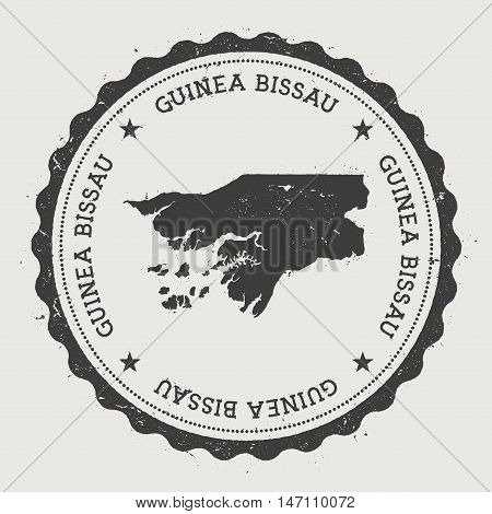 Guinea-bissau Hipster Round Rubber Stamp With Country Map. Vintage Passport Stamp With Circular Text