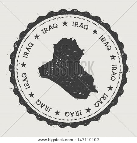 Iraq Hipster Round Rubber Stamp With Country Map. Vintage Passport Stamp With Circular Text And Star