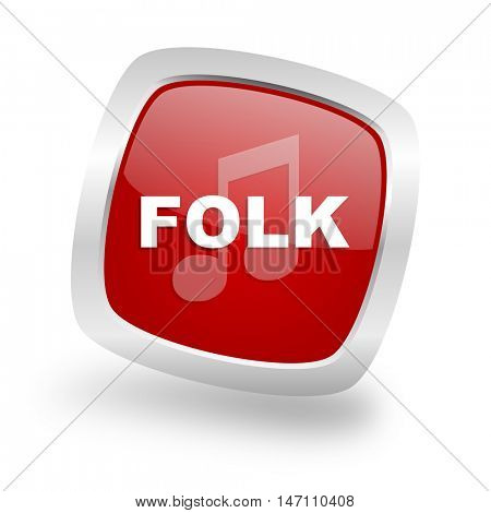 folk music square glossy red chrome silver metallic web icon
