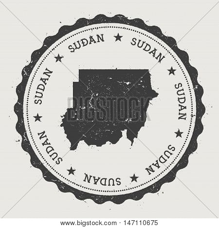 Sudan Hipster Round Rubber Stamp With Country Map. Vintage Passport Stamp With Circular Text And Sta