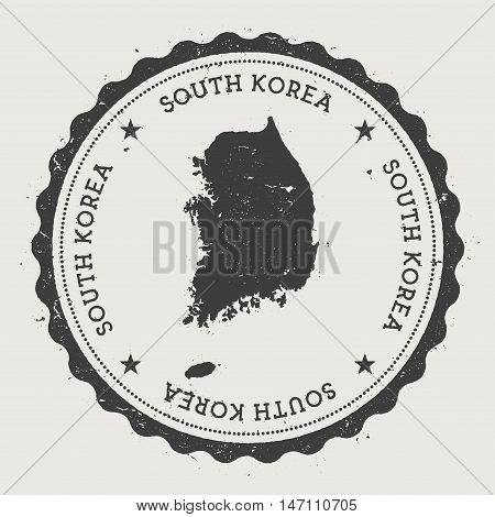 Korea, Republic Of Hipster Round Rubber Stamp With Country Map. Vintage Passport Stamp With Circular