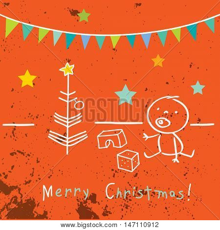 Kids Christmas card, winter holidays vector illustration. Doodle, sketch style drawings.