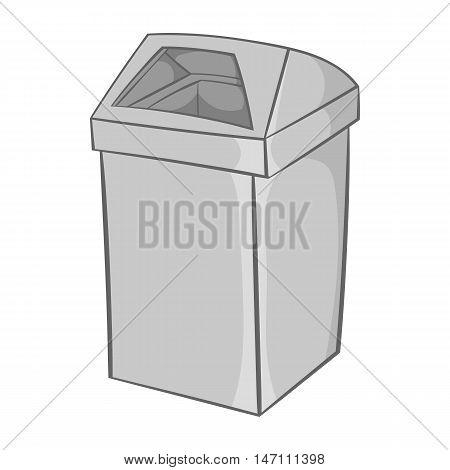 Gray trash icon in black monochrome style isolated on white background. Garbage symbol vector illustration