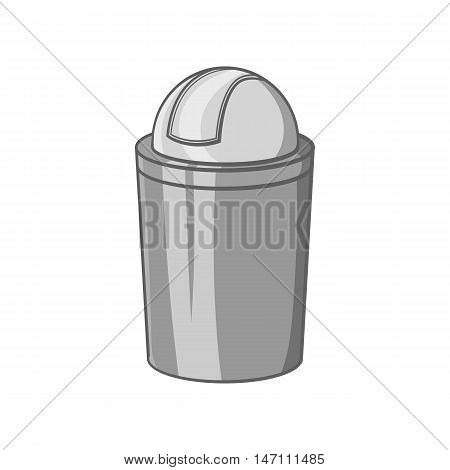 Gray trash can icon in black monochrome style isolated on white background. Garbage symbol vector illustration