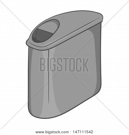 Trash can with lid icon in black monochrome style isolated on white background. Garbage symbol vector illustration