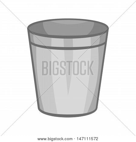 Empty trash can icon in black monochrome style isolated on white background. Garbage symbol vector illustration