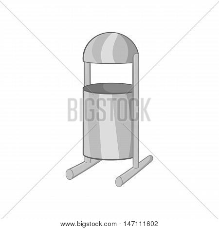 Trash can on legs icon in black monochrome style isolated on white background. Garbage symbol vector illustration