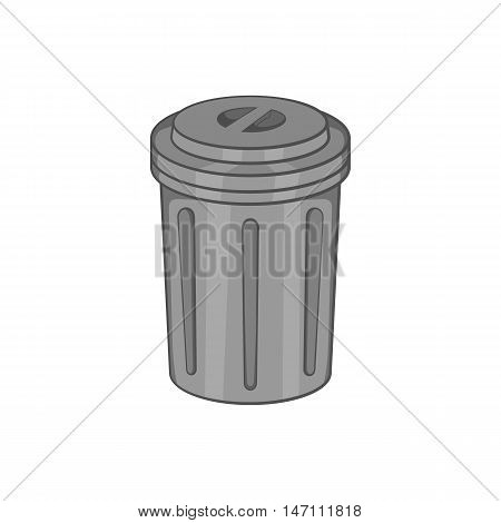 Trash can icon in black monochrome style isolated on white background. Garbage symbol vector illustration