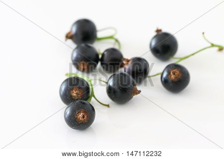 Black currant group isolated on white. Berry.