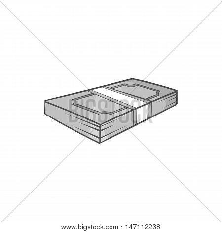 Bundle of money icon in black monochrome style isolated on white background. Finance symbol vector illustration