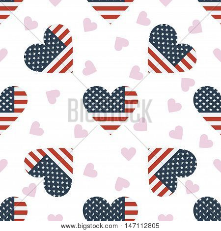 United States Minor Outlying Islands Independence Day Seamless Pattern. Patriotic Background With Co