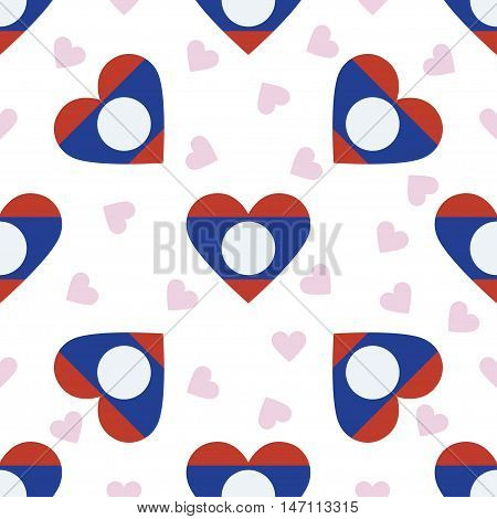 Lao People's Democratic Republic Independence Day Seamless Pattern. Patriotic Background With Countr