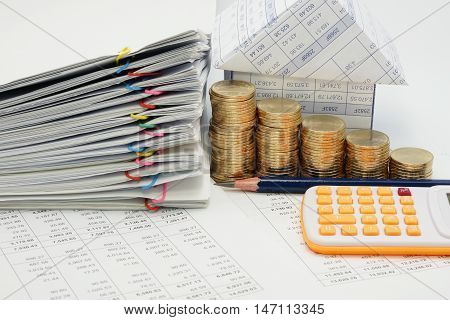 Step Pile Of Gold Coins And Pile Overload Document