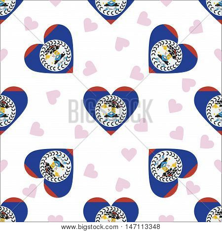 Belize Independence Day Seamless Pattern. Patriotic Background With Country National Flag In The Sha