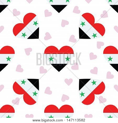 Syrian Arab Republic Independence Day Seamless Pattern. Patriotic Background With Country National F