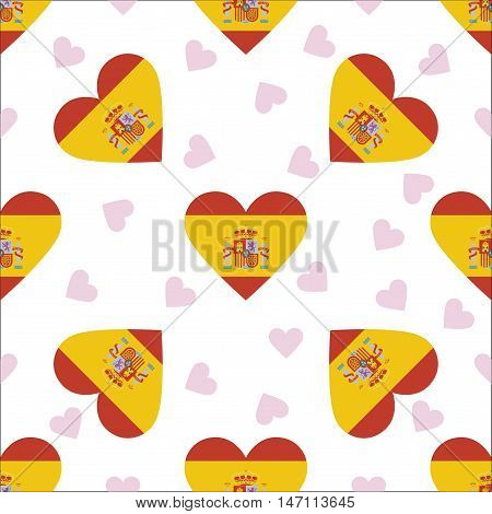 Spain Independence Day Seamless Pattern. Patriotic Background With Country National Flag In The Shap