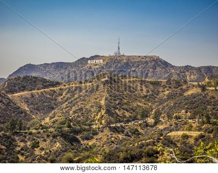 Hollywood sign, at LA, California on September 01, 2016