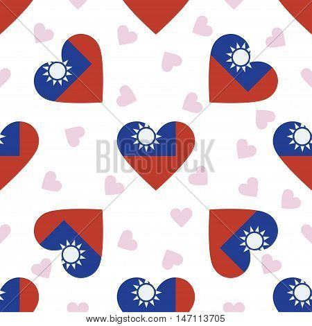 Taiwan, Republic Of China Independence Day Seamless Pattern. Patriotic Background With Country Natio