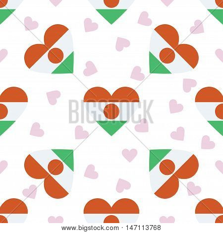 Niger Independence Day Seamless Pattern. Patriotic Background With Country National Flag In The Shap