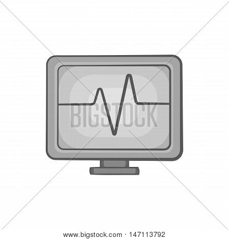 Monitor heartbeat icon in black monochrome style isolated on white background. Medical symbol vector illustration