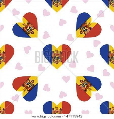 Moldova, Republic Of Independence Day Seamless Pattern. Patriotic Background With Country National F