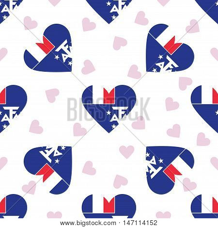French Southern Territories Independence Day Seamless Pattern. Patriotic Background With Country Nat