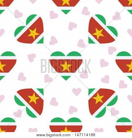 Suriname Independence Day Seamless Pattern. Patriotic Background With Country National Flag In The S