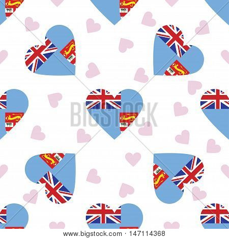 Fiji Independence Day Seamless Pattern. Patriotic Background With Country National Flag In The Shape