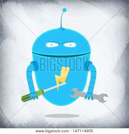 Robot holds a wrench and the screw-driver in hand. He has lightning on a breast.