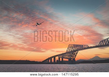 Tokyo gate bridge and Mt. Fuji at beautiful sunset in winter