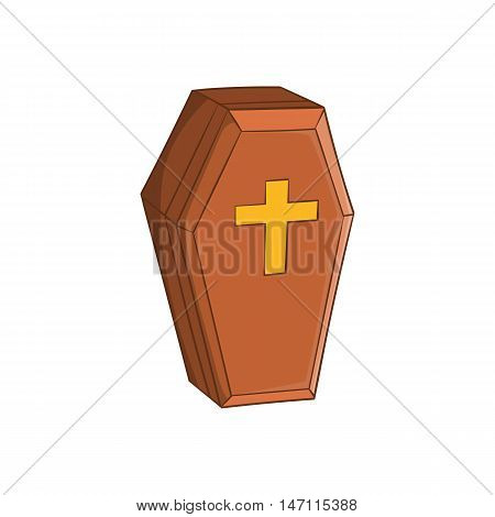 Wood coffin icon in cartoon style isolated on white background vector illustration