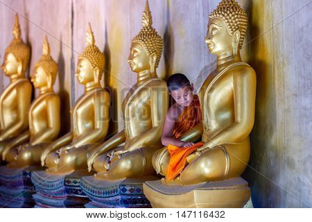 Young Novice monk scrubbing buddha statue at temple in thailand