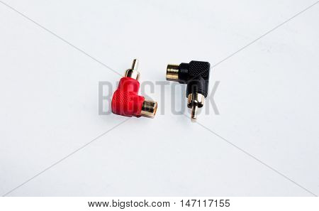 av or audio jack and connection  isolated, jack, plug, black,