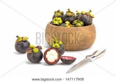 Close up mangosteen fruits isolated on white background