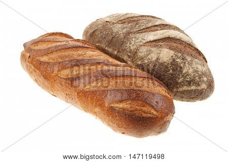 different rye and white flour fresh french bread loaf isolated on white background