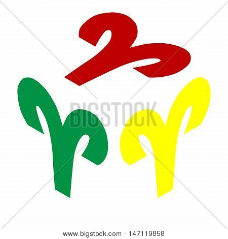 Aries Sign Illustration. Isometric Style Of Red, Green And Yellow Icon.
